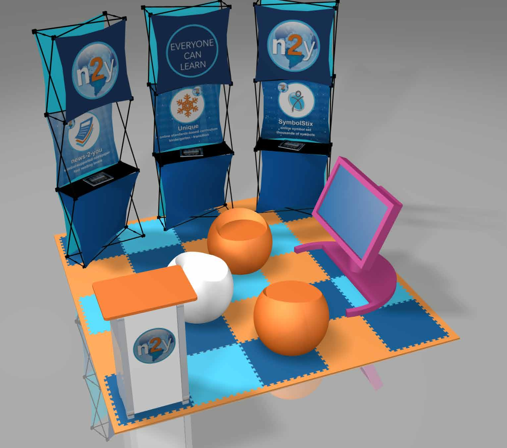 In the n2y display at the SXSWedu Playground, visitors will be able to use tablets and whiteboards to see how teachers use n2y's interactive lessons, online newspaper and symbol-based language to engage students with complex needs (Photo: Business Wire)