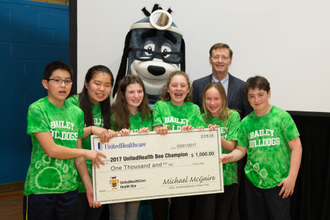 Bailey Middle School students were all smiles over their first-place win at the 2017 UnitedHealthcare Health Bee Competition. The quiz show-style competition, designed to get middle-school students excited about health, fitness and nutrition, was hosted by the YMCA of Kingston and Ulster County. UnitedHealthcare of New York CEO Michael McGuire and mascot Dr. Health E. Hound presented the winning team with a ceremonial check. L to R; Evan Lin, Julie Chen, Amanda Machung, Callie Adin, Vivienne Airhardt and Mckinley Adin (Photo: Clutch Shot Productions).