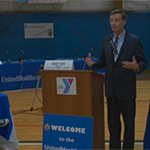 Ward Todd, director of the Ulster County Chamber of Commerce, hosted the 2017 UnitedHealthcare Health Bee Competition. The quiz show-style competition, designed to get middle-school students excited about health, fitness and nutrition, was held in partnership with the YMCA of Kingston and Ulster County. Michael McGuire, CEO of UnitedHealthcare of New York, kicked off the competition among seventh-grade students from J. Watson Bailey, Kingston Catholic, M. Clifford Miller and St. Joseph's middle schools as parents, teachers and community leaders cheered for their favorite team (Video: Clutch Shot Productions).