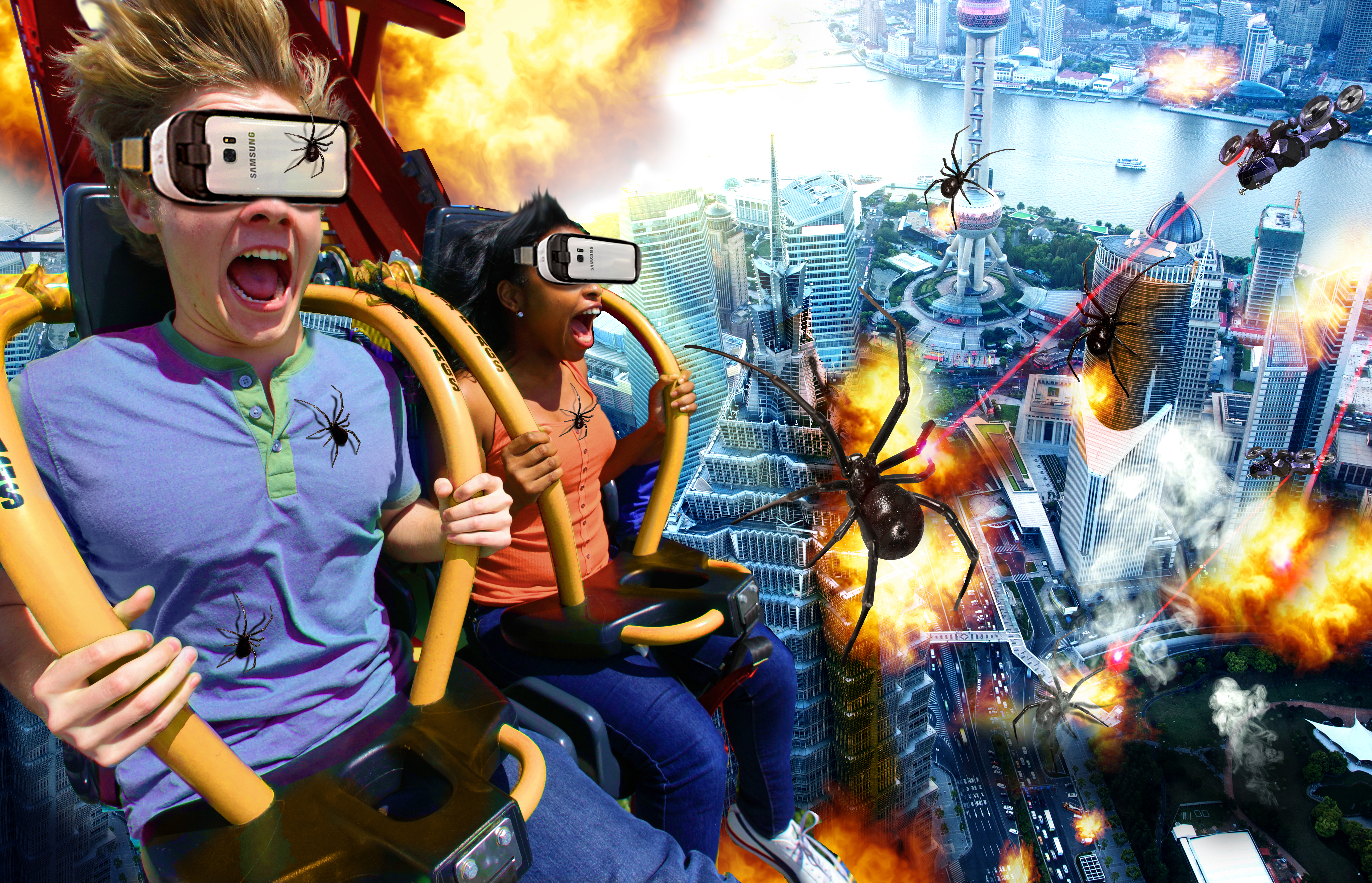 Drop of Doom VR, North America's first-ever permanent drop tower VR attraction, will debut at Six Flags Over Georgia near Atlanta on March 11. This new VR experience is a thrilling, immersive encounter with giant, mutant spiders and will open as part of the park's 50th anniversary season. (Photo: Six Flags Over Georgia)