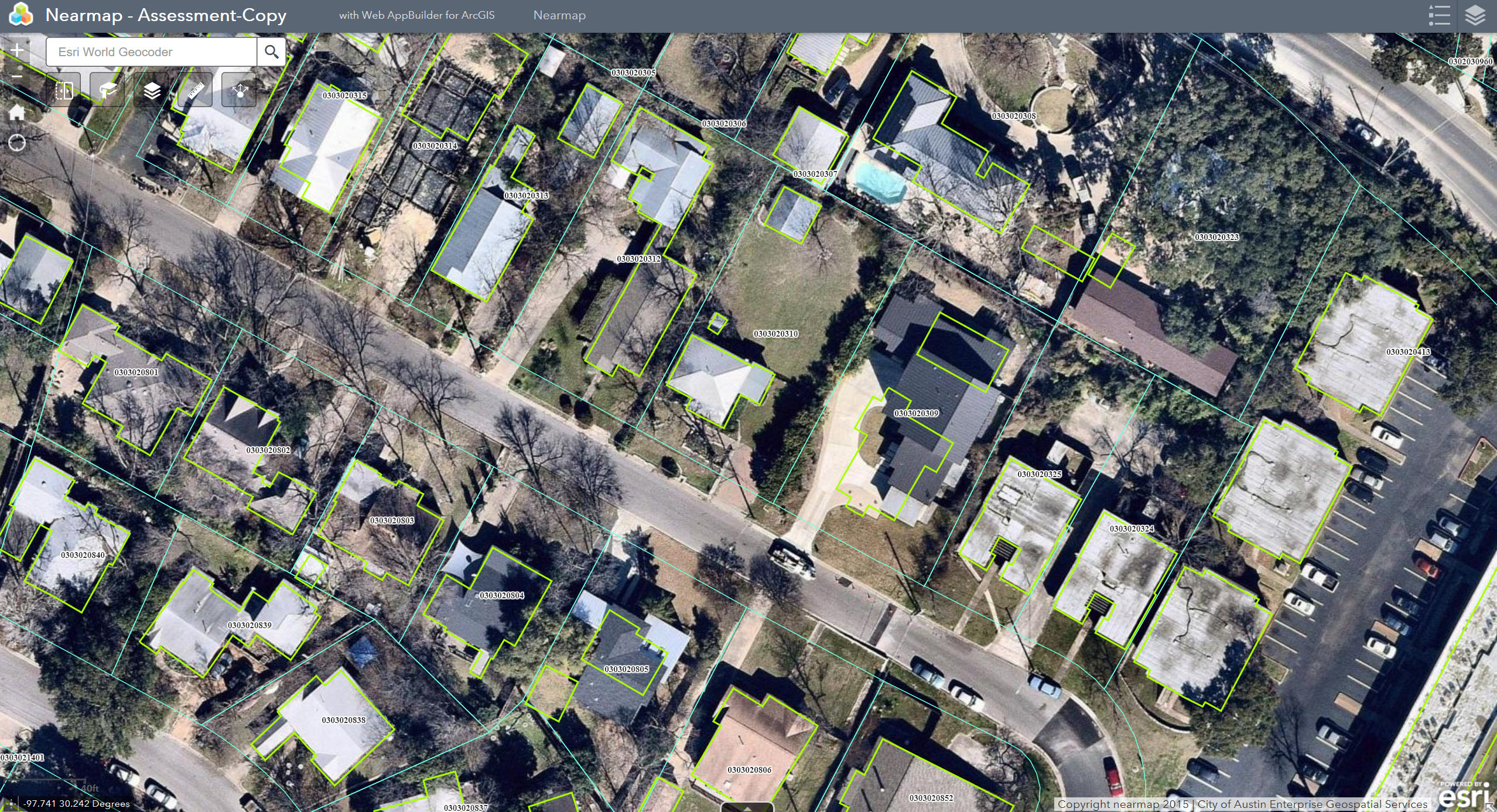 Nearmap high-resolution imagery inside ArcGIS online shows property boundaries and other ground features. (Photo: Business Wire)