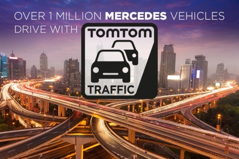 TomTom today announced that its real-time TomTom Traffic information is now available in more than one million Mercedes-Benz passenger vehicles. TomTom Traffic delivers highly accurate traffic information, in real-time, to drivers so they know where traffic has slowed down, why, and how to avoid it, enabling continuous rerouting when they need it the most. (Photo: Business Wire)