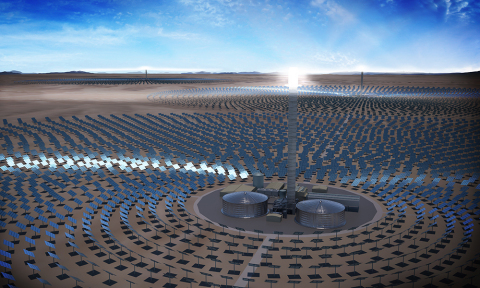 Rendering of SolarReserve's 450 MW Concentrating Solar Power (CSP) Tamarugal Solar Project with 5.8 GW-hours of energy storage (Photo: Business Wire)