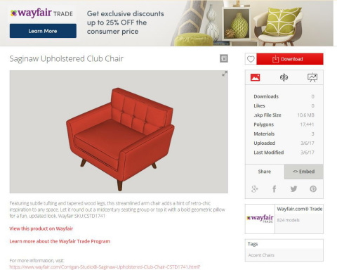 Wayfair's 3D Model Library Now Available in SketchUp's 3D Warehouse (Photo: Business Wire)