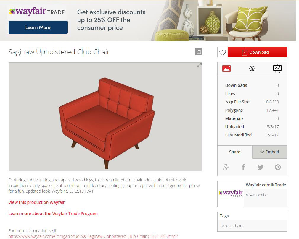Swell Wayfair Launches 3D Model Library On Sketchup The Worlds Download Free Architecture Designs Grimeyleaguecom