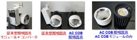 既存のCOB照明器具とAC COB照明器具の比較 (画像:ビジネスワイヤ)