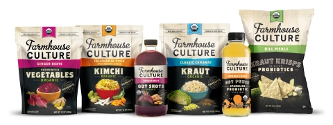 Farmhouse Culture's growing family of probiotic-rich foods and beverages including Fermented Vegetables, Kimchi, Gut Shots™, Kraut, Gut Punch™ and Kraut Krisps™. (Photo: Business Wire)