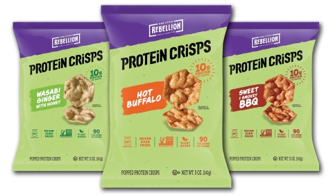 New Protein Crisps available in Wasabi Ginger with Honey, Hot Buffalo and Sweet & Smokey BBQ. (Photo: Business Wire)