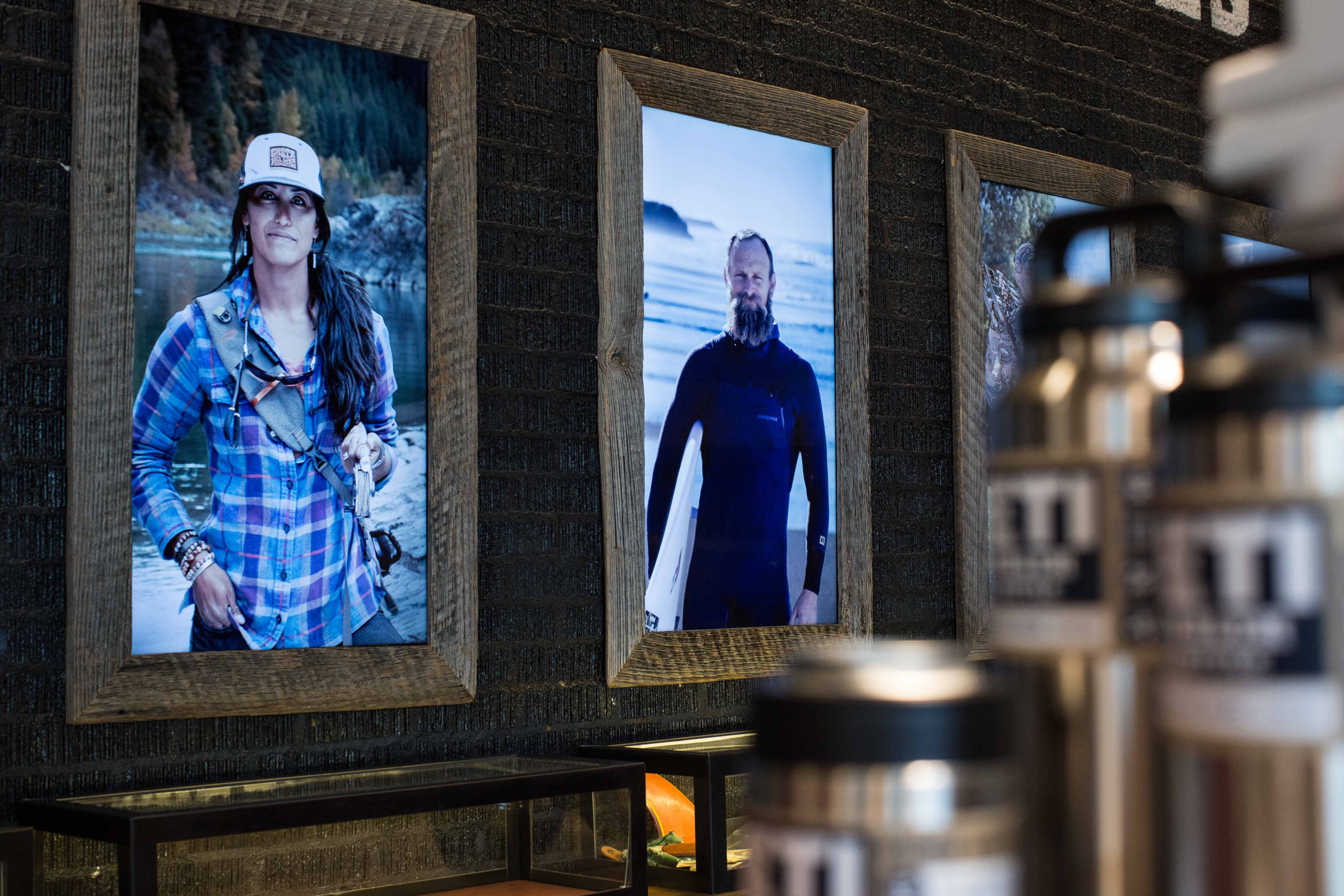 Close up of the Ambassador Wall screens with stories on display (photo courtesy of YETI)