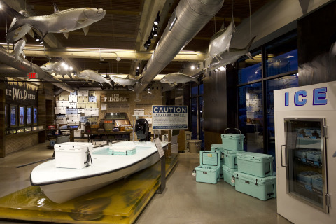 An interior view of the YETI flagship store, including the Ambassador Wall display in the background (photo courtesy of YETI)