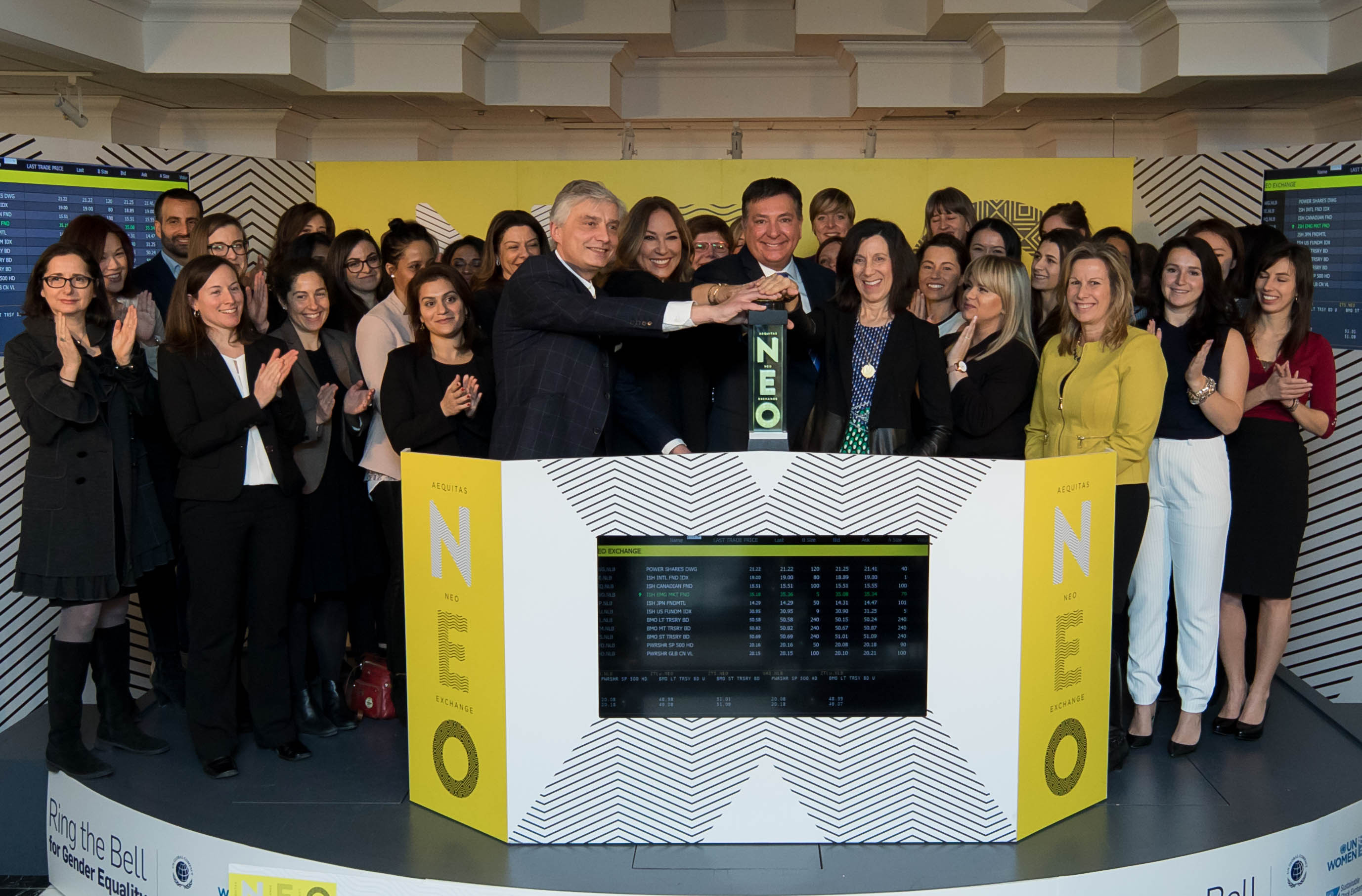 """Toronto – March 8, 2017 – Representatives of Ring the Bell for Gender Equality partners, including Women in ETFs Canadian Chapter Co-Head, Deborah Frame, joined Jos Schmitt - President and CEO, Aequitas NEO Exchange Inc., to open the NEO Exchange in celebration of International Women's Day 2017. The Honourable Charles Sousa – Ontario's Minister of Finance, Som Seif - Founder and CEO, Purpose Investments, Carrie Kirkman - Chair, G(irls)20 and Mariefaye Bechrakis,- Human Rights and Gender Equality Consultant, UN Global Compact, honoured the celebration with their participation. This third annual event, organized by Women in ETFs and UN Women, focused on the theme """"Women at Work"""". (Photo: Business Wire)"""