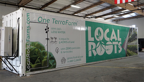 The Local Roots traveling indoor farm grows enough leafy greens to equal five acres of land in a 40' shipping container. (Photo: Business Wire)