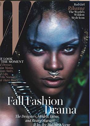 Rihanna makeup by Kabuki for W magazine. (Photo: Business Wire)