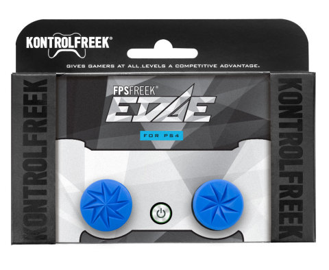 The striking blue KontrolFreek FPS Freek Edge Performance Thumbstick set features a sharp, eight contact-point design that is laser-etched for exceptional grip. It pairs two different height thumbsticks for maximum comfort and accuracy. FPS Freek Edge is available for PlayStation 4 and Xbox One at KontrolFreek.com for $14.99 USD. (Photo: Business Wire)