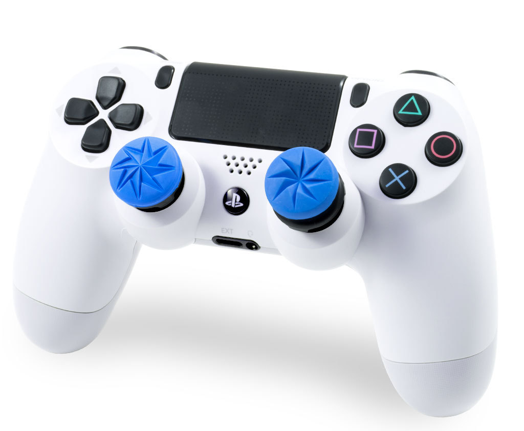 The striking blue KontrolFreek FPS Freek Edge Performance Thumbstick set features a sharp, eight contact-point design that is laser-etched for exceptional grip. It pairs two different height thumbsticks for maximum comfort and accuracy. FPS Freek Edge is available for PlayStation 4 and Xbox One at KontrolFreek.com for $14.99 USD.