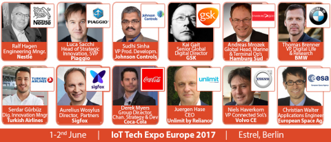 The leading IoT conference series; the IoT Tech Expo is returning to Berlin on the 1-2nd June, with keynote speakers from the likes of Nestlé, BMW, Coca-Cola, GSK, Microsoft, Johnson Controls, Sigfox, Hamburg Sud, Piaggio, Turkish Airlines, Volvo, Reliance, Engie and more (Photo: Business Wire)
