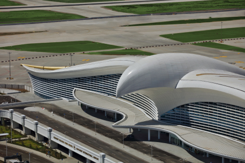 Axalta's Alesta SD powder coatings protect the façade of Central Asia's largest airport, the new Ashgabat International Airport. (Photo: Axalta)