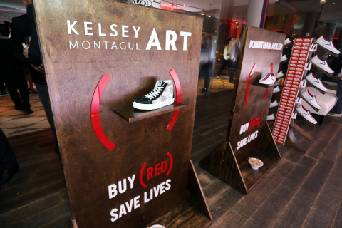 A view of the shoes on display at the Vans pop-up shop at Andaz West Hollywood to celebrate the (ANDAZ)RED Suite. (Photo: Business Wire)