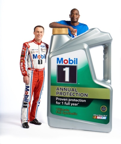 "In the Mobil 1 Annual Protection campaign, Harvick and Mutombo star as the ""Tremendously Odd Couple."" (Photo: Business Wire)"