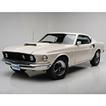 A '69 Ford Mustang Boss 429, known as KK #1717, is one of 271 cars made in Wimbledon White and came well-equipped from the factory and will cross the Barrett-Jackson Auction block in Palm Beach. (Photo: Business Wire)