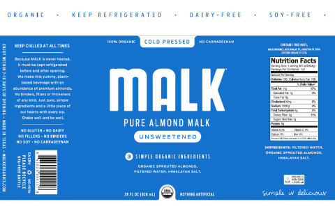 "MALK Organics releases new labels, removing the word ""milk"" from all brand labels (Graphic: Business Wire)"