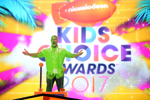 LOS ANGELES, CA - MARCH 11: Host John Cena gets slimed onstage at Nickelodeon's 2017 Kids' Choice Awards at USC Galen Center on March 11, 2017 in Los Angeles, California. (Photo by 2017 Chris Polk/KCA2017)