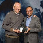 in the photo: Hafez Hamdy, ITWORX CEO-right-receives the 2017 EPC Award from Jack Dangermond, Esri Founder and President (Photo: ME NewsWire)