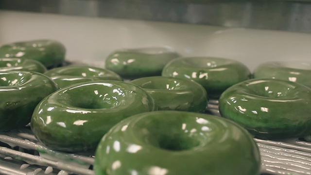 Krispy Kreme Doughnuts will change the name of its iconic Original Glazed doughnut on Friday, March 17. The green O'riginal Glazed doughnut is available at participating shops in the U.S. and Canada.
