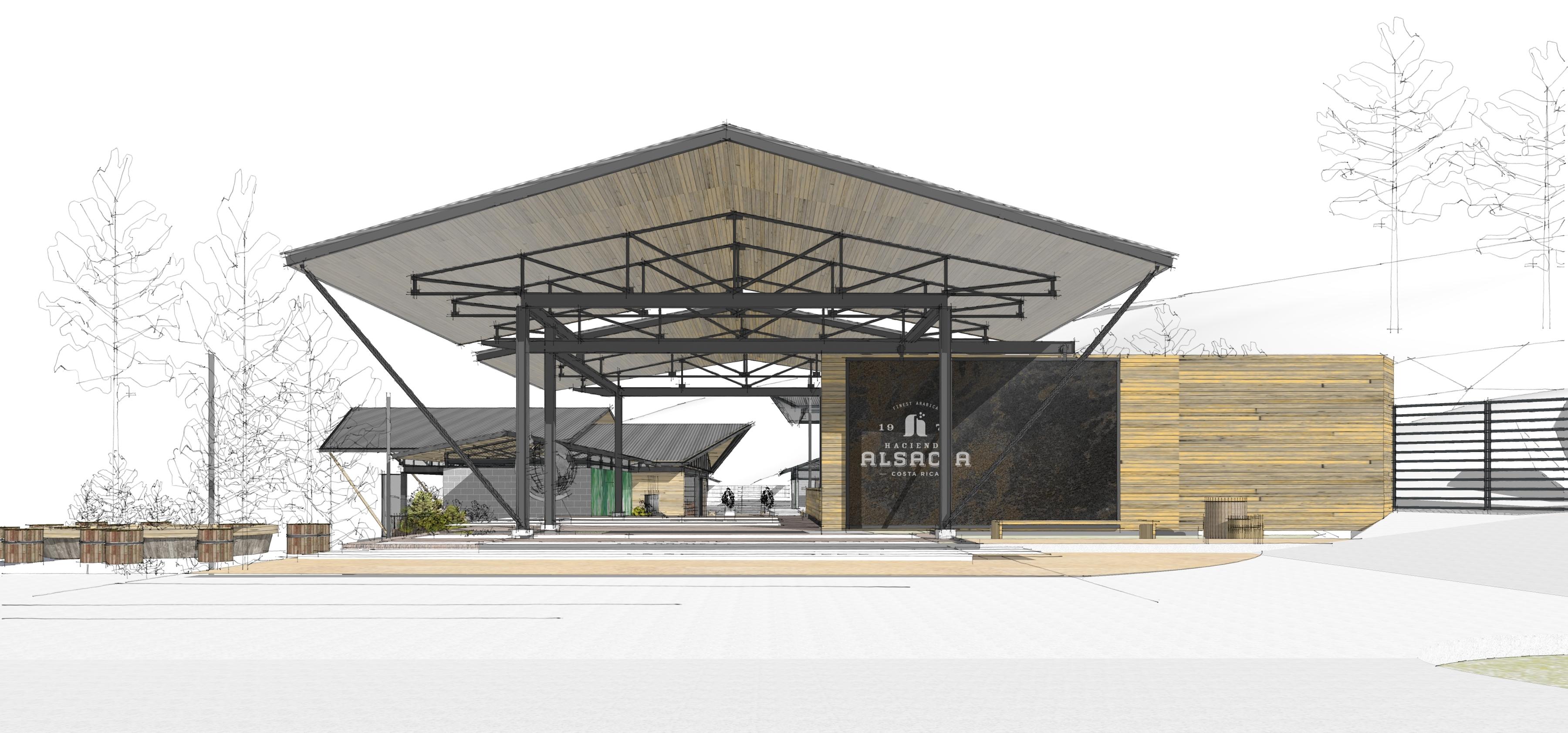 Rendering of Starbucks Hacienda Alsacia Coffee Farm Visitor Center (Graphic: Business Wire)