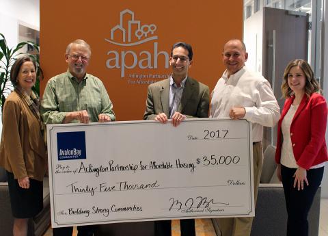 APAH's Nina Janopaul and John Milliken accept AvalonBay's $35,000 donation from Matt Birenbaum, Mark Delisi and Christine McElhinney (Photo: Business Wire)
