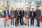 "From left to right:  Jos Giannandrea, Vice President, Projects & Services, SES Techcom Services, Lucien Hoffmann, Director of the ""Environmental Research and Innovation"" department- LIST, Gerhard Bethscheider, Managing Director, SES Techcom Services, Jacques Noppeney Senior Legal Counsel, SES, Fernand Reinig, CEO a.i.- LIST, Alan Kuresevic, Vice President, Engineering, SES Techcom Services, Frank Zimmer, Senior Manager, System Engineering, SES Techcom Services, Thomas Schoos, Head of External Communication-LIST (Photo: Business Wire)"