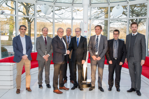 """From left to right:  Jos Giannandrea, Vice President, Projects & Services, SES Techcom Services, Lucien Hoffmann, Director of the """"Environmental Research and Innovation"""" department- LIST, Gerhard Bethscheider, Managing Director, SES Techcom Services, Jacques Noppeney Senior Legal Counsel, SES, Fernand Reinig, CEO a.i.- LIST, Alan Kuresevic, Vice President, Engineering, SES Techcom Services, Frank Zimmer, Senior Manager, System Engineering, SES Techcom Services, Thomas Schoos, Head of External Communication-LIST (Photo: Business Wire)"""