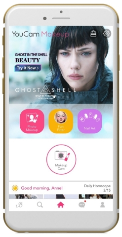YouCam app users can virtually try on looks inspired by characters from the highly anticipated new movie, GHOST IN THE SHELL, in theaters March 31 (Photo: Business Wire)