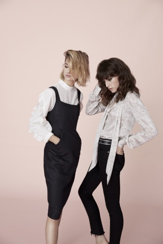 Joyce Azria's new lifestyle brand, AVEC LES FILLES, mixes a chic French aesthetic with California ease; AVEC LES FILLES Structured Apron Dress, $98, and Ruffled-Sleeve Top, $58; AVEC LES FILLES Tie-Neck Blouse, $68, and High-Waisted Skinny Jeans, $98, now available at select Macy's stores and on macys.com. (Photo: Business Wire)