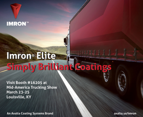 Axalta Imron Elite polyurethane coatings for heavy duty trucks will be on display at the Mid-America Trucking Show on March 23-25. (Graphic: Axalta)