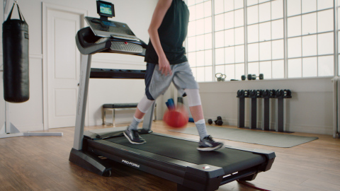 Young basketball star Luke Facer showcases his ball handling skills while jogging forward, backward and turning 360s on a ProForm treadmill, in a new campaign celebrating March Madness. (Photo: Business Wire)
