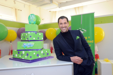 """Dancing with the Stars"" sensation Maksim Chmerkovskiy helps Swiffer celebrate its 18th birthday, Thursday, March 16, 2017, in New York. (Photo by Diane Bondareff/Invision for Swiffer/AP Images)"