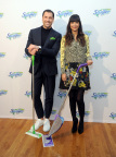 """Dancing with the Stars"" sensation Maksim Chmerkovskiy and ""New Girl"" actress Hannah Simone partner with Swiffer to celebrate the iconic brand's 18th birthday, Thursday, March 16, 2017, in New York. (Photo by Diane Bondareff/Invision for Swiffer/AP Images)"