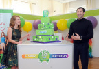 """Dancing with the Stars"" sensation Maksim Chmerkovskiy and ""Adulting"" author Kelly Williams Brown celebrate Swiffer's 18th birthday, Thursday, March 16, 2017, in New York. Swiffer has been America's original cleaning hack since 1999. (Photo by Diane Bondareff/Invision for Swiffer/AP Images)"