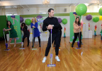 """Dancing with the Stars"" sensation Maksim Chmerkovskiy teaches dance moves to guests to celebrate Swiffer's 18th birthday, demonstrating how #adulting and cleaning is easy with Swiffer, Thursday, March 16, 2017, in New York. (Photo by Diane Bondareff/Invision for Swiffer/AP Images)"