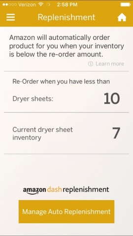 Owners can adjust their stock of dryer sheets and adjust the reordering level through the GE Laundry App. (Photo: GE Appliances, a Haier company)