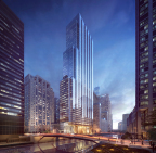 110 North Wacker Drive, Dusk; image © Goettsch Partners