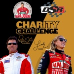 """Papa John,"" the Founder, Chairman and CEO of Papa John's Pizza, and Leah Pritchett, winner of two NHRA Top Fuel titles this year in her Papa John's Pizza Top Fuel dragster, will renew their on-track rivalry for charity on Saturday (March 18) during the NHRA Gatornationals in Gainesville, Florida. (Photo: Business Wire)"