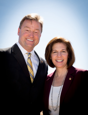 U.S. Senators Dean Heller (R-NV) and Catherine Cortez Masto (D-NV) joined leaders of the Moapa Band of Paiutes for a Commissioning Ceremony of the 250MW Moapa Southern Paiute Solar Project near Las Vegas on Friday morning. The renewable energy power plant is the first ever utility-scale solar power plant to be built on tribal land, and will provide electricity to the Los Angeles Department of Water and Power. Officials from the U.S. Department of Energy, the Bureau of Land Management and the Bureau of Indian Affairs also participated in the commissioning ceremony. (Photo: Business Wire)