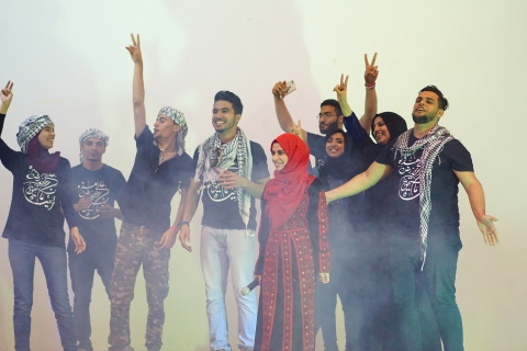 Students from AURAK's Palestinian community perform on stage (Photo: ME NewsWire)