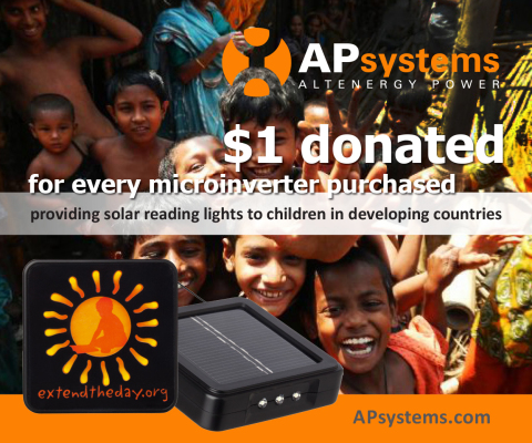 APsystems to donate $1 on every microinverter purchased to Extend the Day, a charity organization which gives solar reading lights to school children in disadvantaged countries with no access to electricity. (Photo: Business Wire)