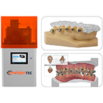 The EnvisionTEC Vida 3D printer for dental professionals, shown left, can now print indirect bonding trays for accurate bracket placement and easy release in EnvisionTEC's flexible new E-IDB material, shown top right. The technology works with Ortho Analyzer software, shown bottom right, from 3Shape, a global leader in 3D scanning and CAD/CAM solutions for the dental industry and an EnvisionTEC partner. These digital dental solutions will be on display at IDS 2017 in Cologne, Germany, this week. (Photo: Business Wire)