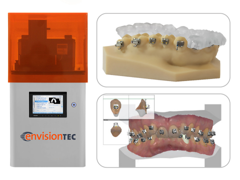 The EnvisionTEC Vida 3D printer for dental professionals, shown left, can now print indirect bonding ...