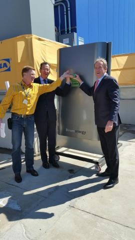 Connecticut Governor Dannel Malloy, Bloom Energy Chief Commercial Officer Bill Kurtz and Christof Stein, store manager, 'flipped-the-switch' on IKEA's first fuel cell system on the east coast, at its store in New Haven. (Photo: Business Wire)