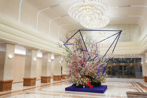 Gigantic Ikebana Flower arrangement themed sakura cherry blossom by Artist Hiroki Maeno will be lavi ...